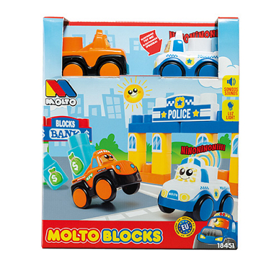Molto Blocks + 3 Electronic Cars