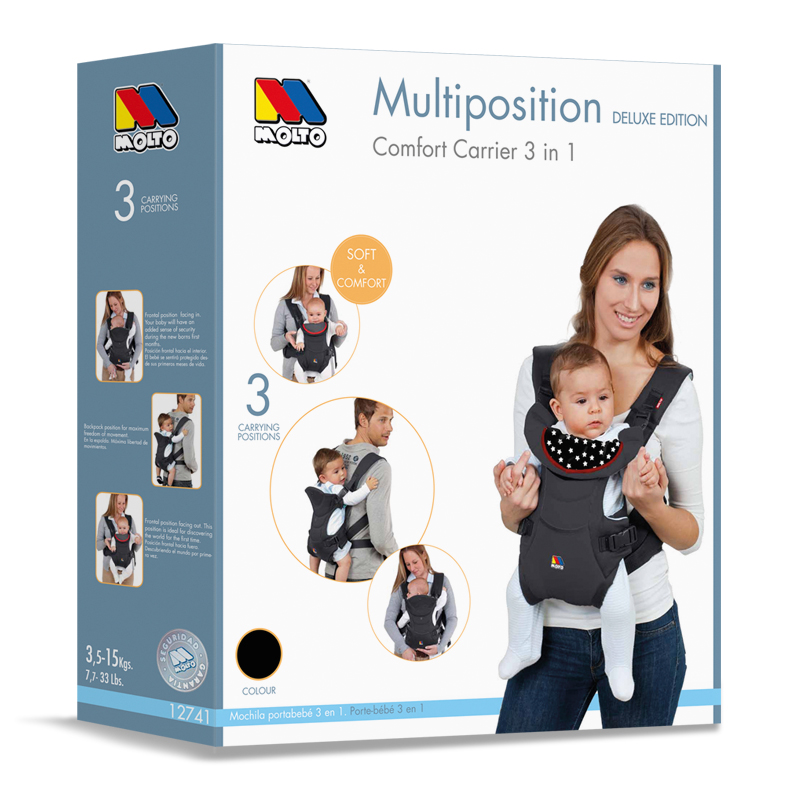 4aed3b036b1 Multiposition Comfort Carrier 3 in 1 • Molto · Juguetes y Puericultura
